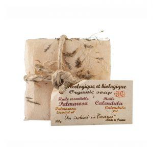 Savon BIO Certifié Ecocert huiles essentielles parfum Calendula et Palmarosa